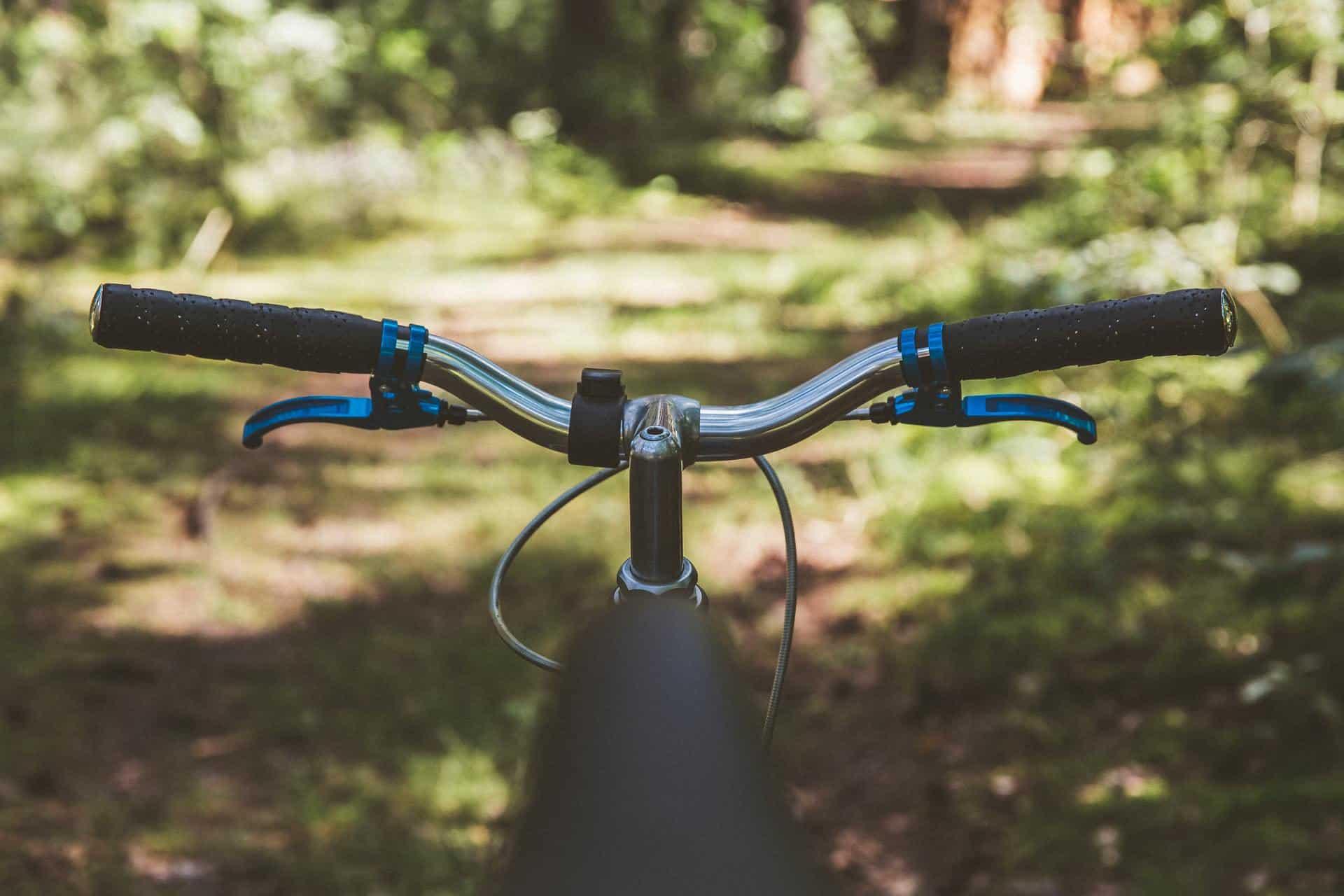 Bicycle handlebars close up